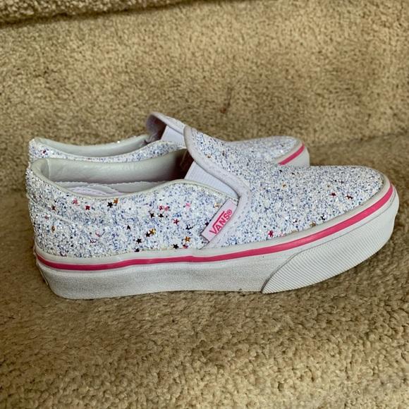 Vans Slip On Glitter Stars White Skate